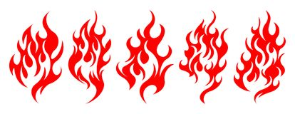 Set of vector fire design elements. Five fire design element on white background Stock Photos