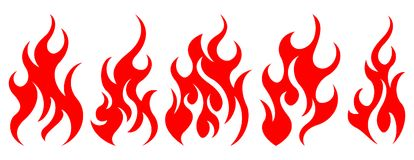 Set of vector fire design elements. Five fire design element on white background Stock Photography