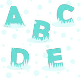 Five first letter of alphabet at winter Royalty Free Stock Photo