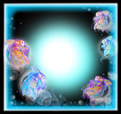 Five Fish cute color full for background. To use free space at center frame arond neon lighting illustration graphic design Stock Photos