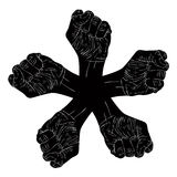 Five fists abstract symbol, black and white vector special emble Stock Image