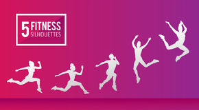 Five fitness silhouettes vector Stock Image