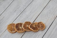 Five five dried orange slices stock photos