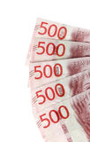 Five five hundred banknotes Stock Photography