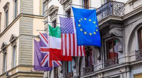 Five Flags in Florence. Including European Union, United States, Italy and Great Britain Royalty Free Stock Photography