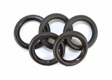 Five flat O ring washers Royalty Free Stock Photo