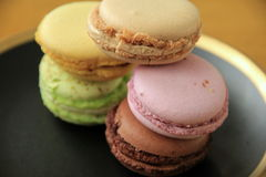 Five flavors of just baked macaroons Stock Image