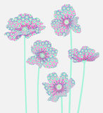 Five flowers with an abstract pattern on the petals Royalty Free Stock Photos