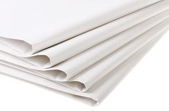 Five folded blank newspapers Royalty Free Stock Images