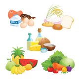 Five Food Group Illustrations Royalty Free Stock Photography