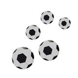 Five footballs. Vector illustration Royalty Free Stock Images