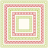 Five frames for Christmas cross-stitch embroidery Stock Photos
