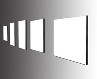 Five frames on white wall Stock Photography