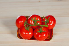 Five fresh red tomatoes with green stem in the tray , isolated on the background Royalty Free Stock Photos