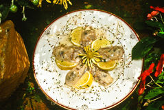 Five, fresh, shucked oysters with lemon slices stock photos