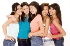 Five Friends #1. Five cute young asian women in colorful casual clothes Stock Photos