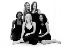 Five Friends. A group shot of five pretty young women in black and white Stock Image