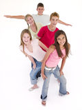 Five Friends In A Row Smiling Royalty Free Stock Photos