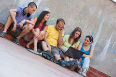 Five friends outdoor Royalty Free Stock Images