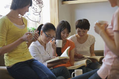 Five friends sitting in coffee shop, reading Stock Photo