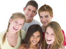 Five friends together smiling Royalty Free Stock Photos