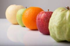 Five fruit , guava orange, redapple, green apple  chinese pear, Stock Image
