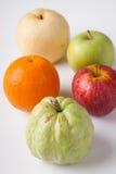 Five fruit , guava orange, redapple, green apple  chinese pear, Stock Photos