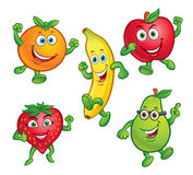 Five Fun Cartoon Fruit Characters Stock Image
