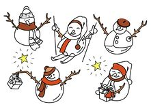 Five funny snowmen in doodle. Five cute vector doodle snowmen isolated on white background standing in different poses for your winter design royalty free illustration