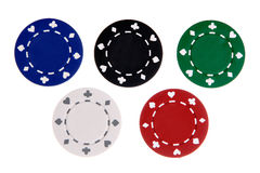 Five Gambling Chips Stock Photography