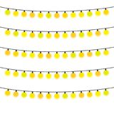 Five garlands with yellow light bulbs on a white background. Vector illustration Stock Image