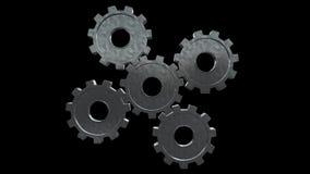 Five gears spinning flies . Black background. Alpha channel vector illustration