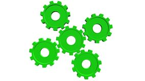 Five green gears spinning . White background. Alpha channel stock illustration