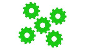 Five green gears spinning . White background. Alpha channel royalty free illustration