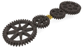Five gears on white Royalty Free Stock Photography