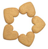 Five gingerbread cookies Royalty Free Stock Images