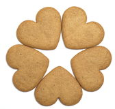 Five gingerbread cookies negative space star Stock Image