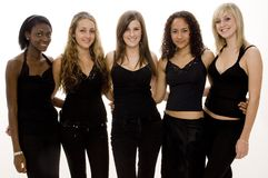 Five Girls. Five pretty girls in black on white Royalty Free Stock Photos