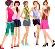 Five girls vector illustration