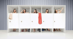 Five girls in changing rooms Stock Photo