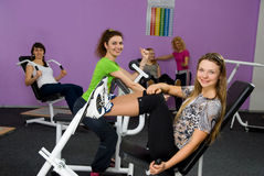Five girls in the fitness center Royalty Free Stock Photography