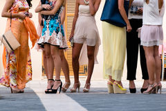 Five girls with nice legs. And cocktail dress Royalty Free Stock Photography