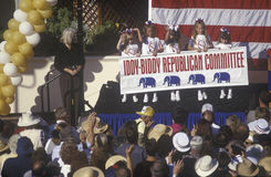 Five girls representing the Iddy-Biddy Republican. Committee wave at the audience at a rally for presidential candidate Bob Dole in Santa Barbara after the 1996 Stock Photo