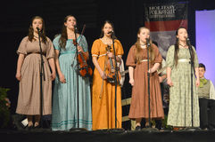 Five Girls Singing. From the group La Troupe jeunesse from Canada at the Holiday Folk Fair International at State Fair Park in Milwaukee, Wisconsin stock images