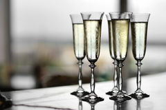 Five glasses of champagne Stock Images