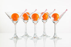 Five glasses of champagne and golf equipments Royalty Free Stock Photography