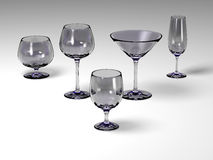 Five glasses on a white floor. Five different empty glasses on a white floor stock illustration