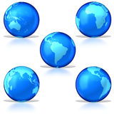 Five glassy earths Stock Photo
