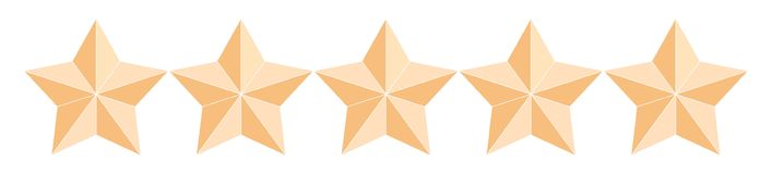 Five gold award stars stock illustration