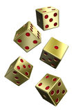 Five gold dices isolated on white. Computer generated 3D photo rendering Royalty Free Stock Photos